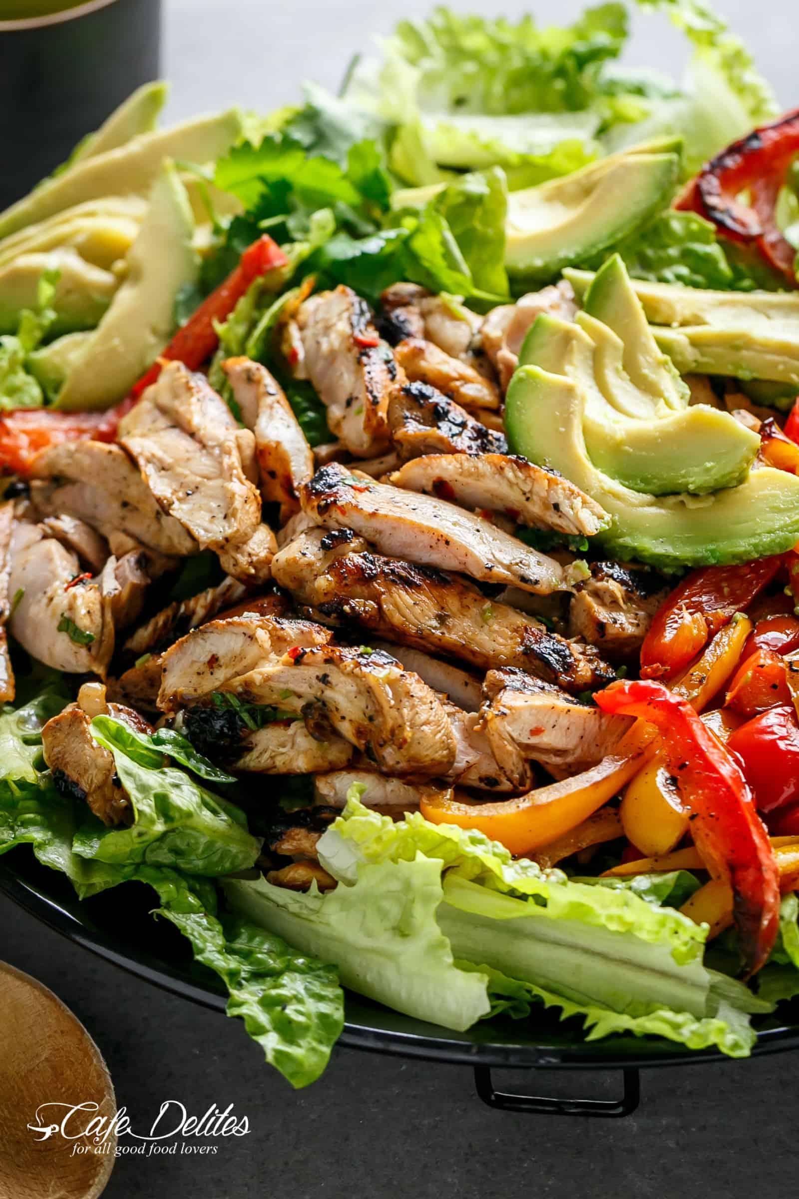 Grilled Chili Lime Chicken Fajita Salad, ketogenic, low carb, keto food, bbq food
