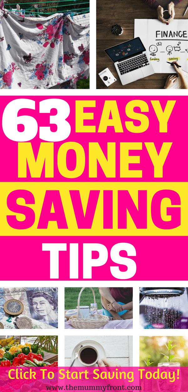 63 Easy Money Saving Tips #debt #savingtips #savemoney #savings #debtfree