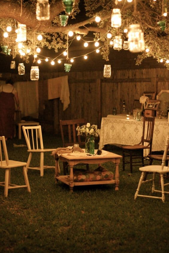 beautiful lighting, one the prettiest garden party ideas