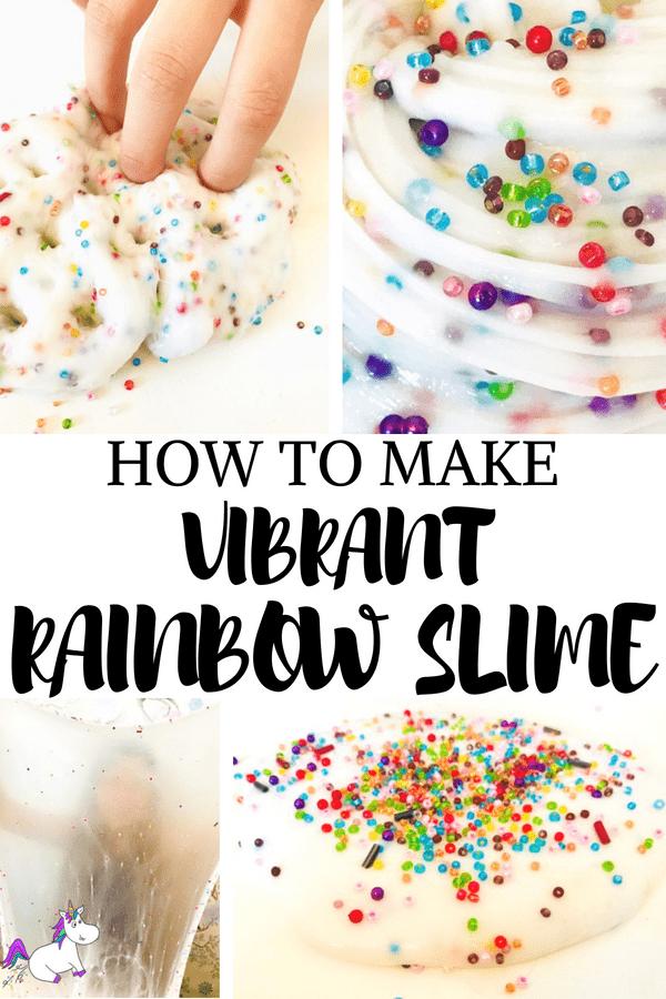How to make vibrant rainbow slime #slimerecipe #rainbowslime #easyslime