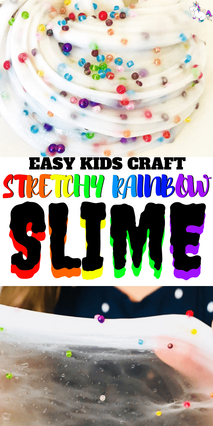 Stretchy Rainbow Slime Recipe | Easy Slime Recipe For Kids | Foolproof slime with glue | Rainbow Slime | Via: https://themummyfront.com | Rainbow Crafts | how to make slime | Stretchy slime | This is the best slime recipe for slime with contact solution #slime #slimerecipe #themummyfront #bestslimerecipe #easyslime #rainbowslime