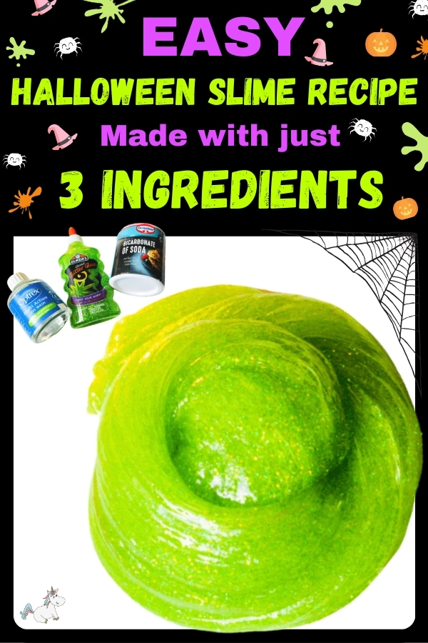 Easy Halloween slime recipe made with just 3 ingredients!