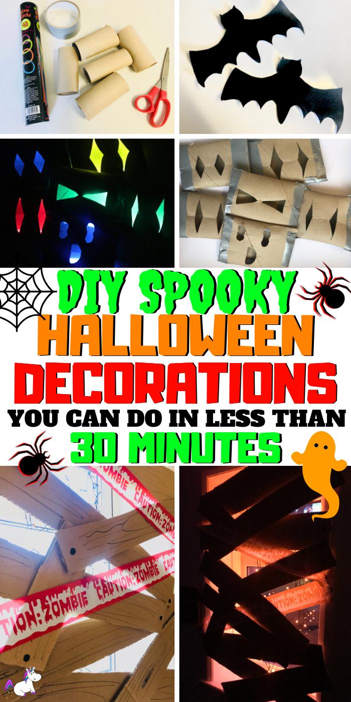 3 DIY Spooky Halloween Decorations That Take Less Than 30 Minutes! Cheap & Easy Halloween Craft Idea For Kids | Spooky Bats | Creepy Glow Eyes | Zombie Barricade | Via: https://themummmyfront.com #halloween #halloweendecorations #halloweencrafts #halloweencraftsforkids #halloweenfun #halloweenparty #halloweenpartyideas #themummyfront #halloweenpartydecor #kidscraft #activitiesforkids #activities #cheapcrafts #partydecorations