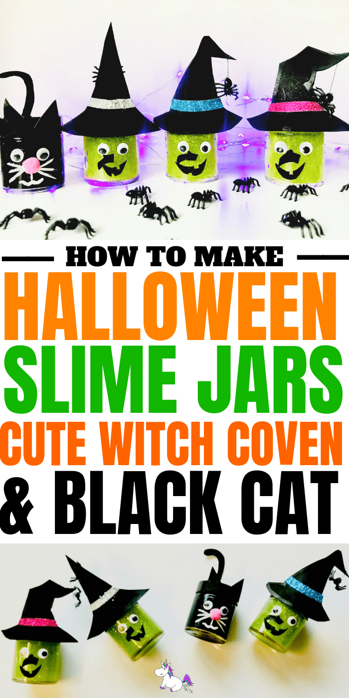 Halloween Slime - The best Halloween slime jar tutorial, showing you how to make slime, how to store slime & more | halloween craft ideas | easy halloween craft | halloween slime | witch slime | spooky slime | black cat halloween | green slime #halloweenslime #halloweencraft #halloweendiy #halloweencraftforkids
