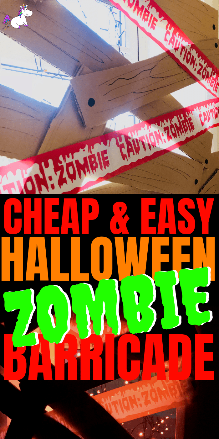 Easy Halloween Crafts ~ Cheap & Easy Spooky Zombie Barricade Halloween Craft For Kids, Awesome Cheap Halloween Party Idea #halloweencrafts #easyhalloweencrafts #kidscrafts #kidsartsandcrafts #diyhalloweendecorations
