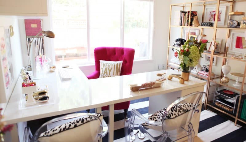 Stylish Ikea Desk Hack with pink velvet office chair
