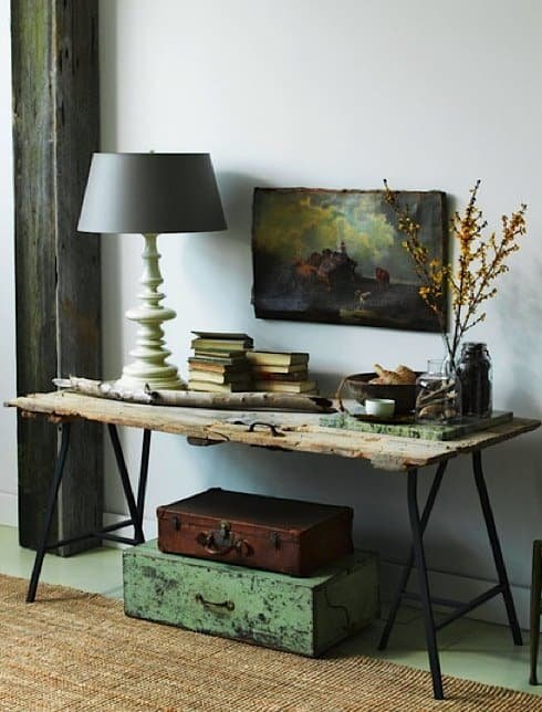 Rustic style desk made using an Ikea frame