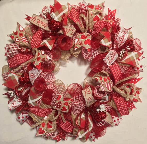 This ribbon wreath is one of the prettiest Valentine's Day Decoration Ideas