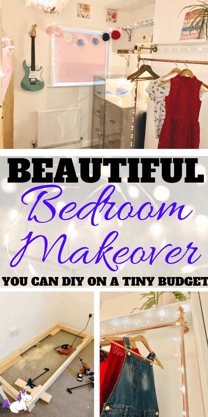 Stunning Bedroom Makeover You Can Do On A Really Small Budget - Including Embarrassing Before Pics | DIY Home decor | Bedroom Makeover Ideas | Small bedroom ideas | DIY bed | DIY projects | Home decor on a budget | Via https://themummyfront.com #themummyfront #bedroommakeover #bedroommakeoveronabudget #bedroommakeoverideas #homedecoronabudget #diyhomedecor #bedroomdecorkids