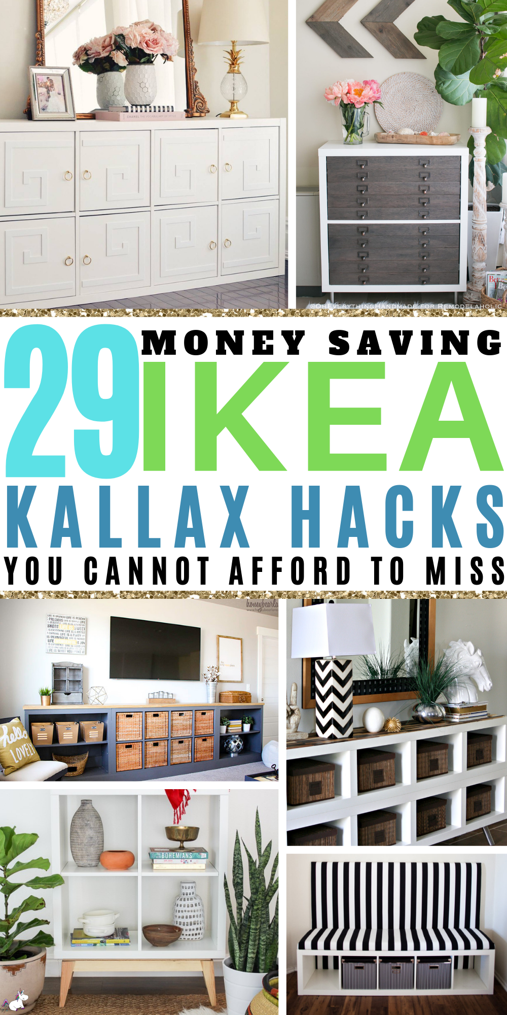 29 Money Saving Ikea Kallax Hacks That Will Blow Your Mind! Thes budget home decor hacks will help you get organized & make your home look fabulous ona budget! #ikeahack #kallaxhacks #kallax #ikea #creativediyprojects #organizing