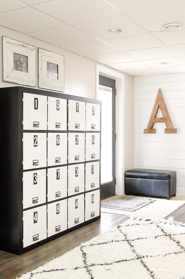 Ikea Kallax cube shelves transformed into farmhouse style lockers