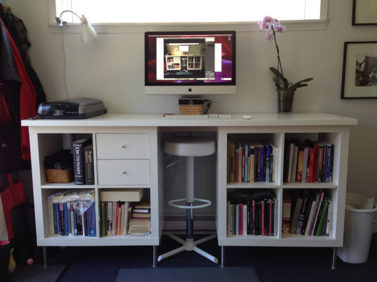 Easy ikea Kallax Standing Desk hack & office storage idea