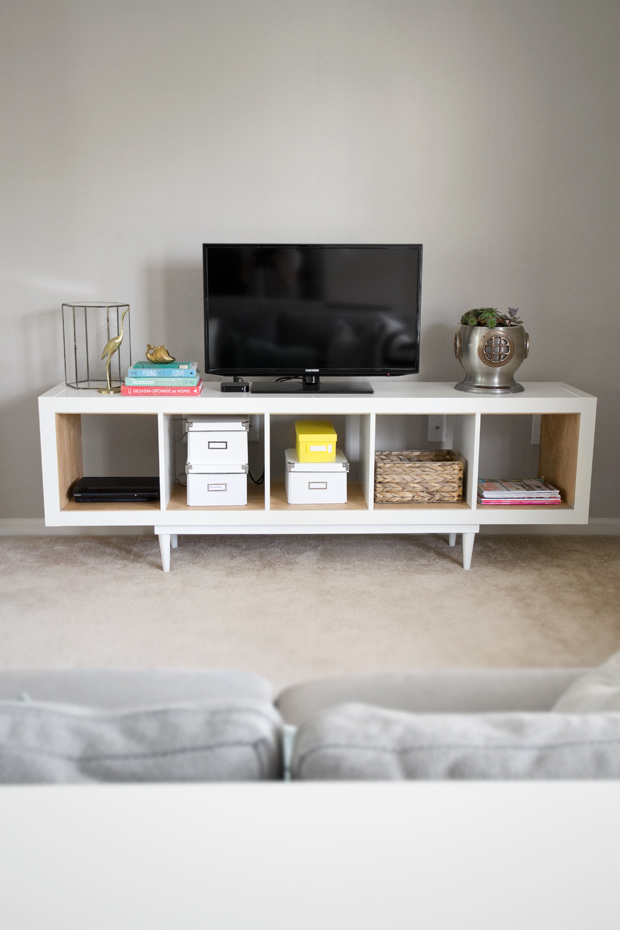 Mid century modern ikea tv stand & living room storage idea