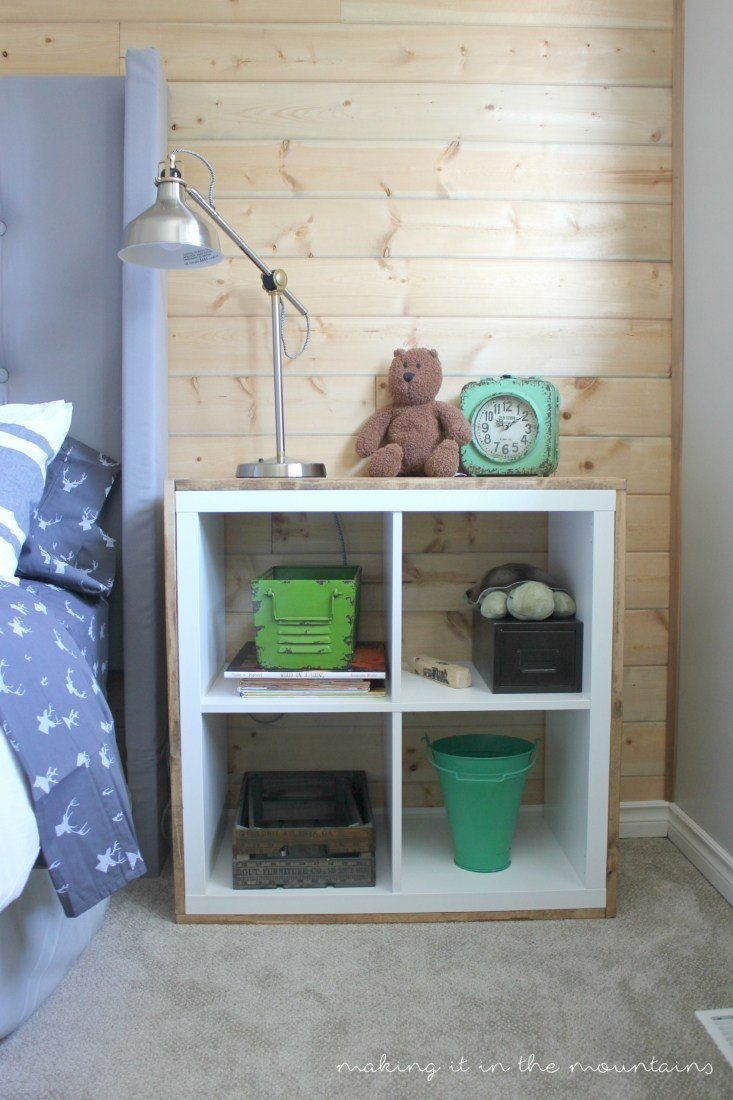 Wood wrapped ikea Kallax nightstand for the bedroom