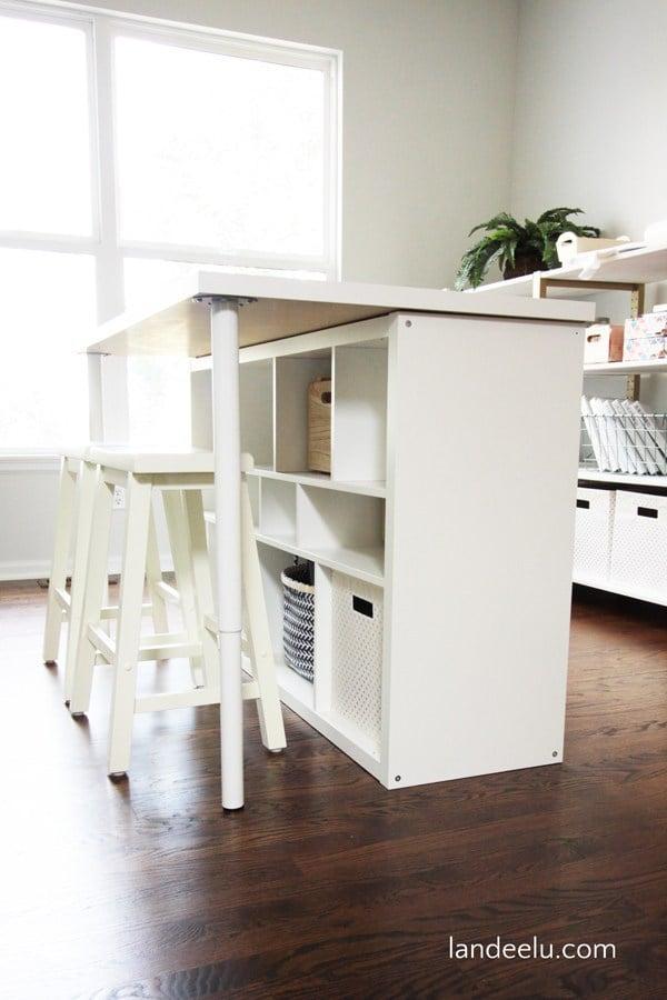 Craft room table & storage using Ikea Kallax