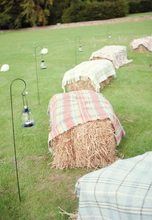 Hay bale party seating | Summer party ideas