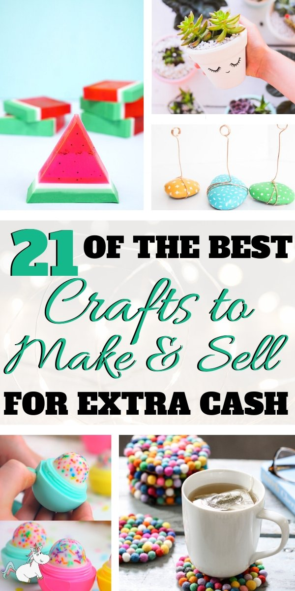 21 Amazing Crafts To Make and Sell For Extra Cash! If you have and online craft business or are looking to start one you'll love these easy crafts to make & sell for profit! They're all cheap crafts that you can do quickly which means you can make money from home quickly! Click to check them out! #craftstomakeandsell #craftstosell #crafts #makemoneyfromhome #sidehustleideas