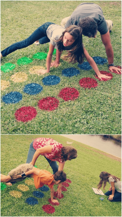 This backyard twister is a summer party game that the whole family will enjoy! #summerpartygames