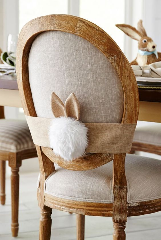 Burlap Bunny Easter Chair Dressing