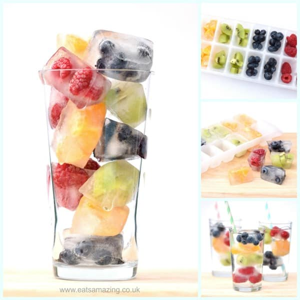 Freeze rainbow fruit into ice cubes to jazz up your water this summer!
