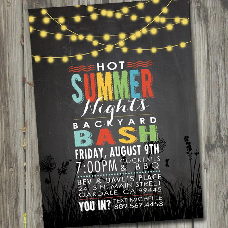 Backyard bash Summer Party Invitations Printable #summerparty #partyinvitations