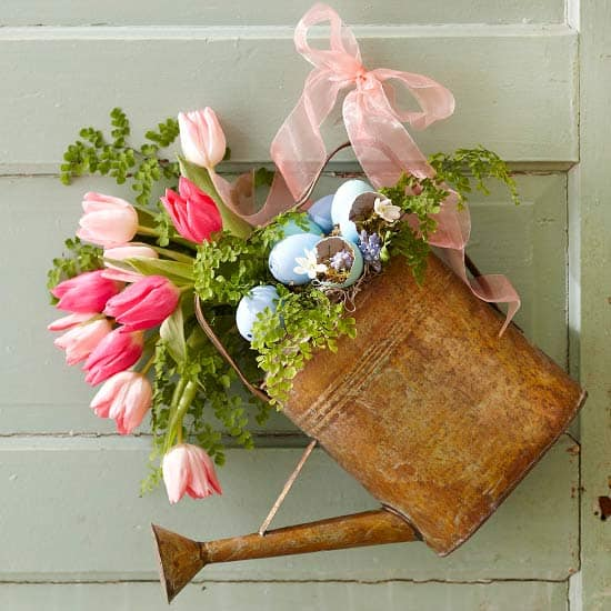 Spring Home Decor Idea DIY Watering Can With Flowers