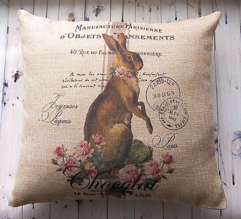 Farmhouse style easter bunny pillow