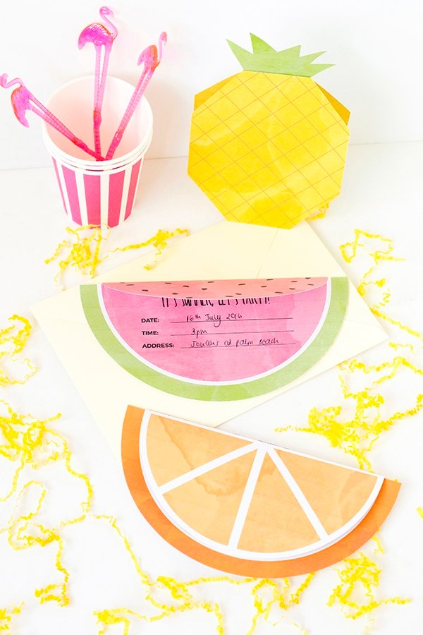 Printable fruity summer party invitations #summerparty