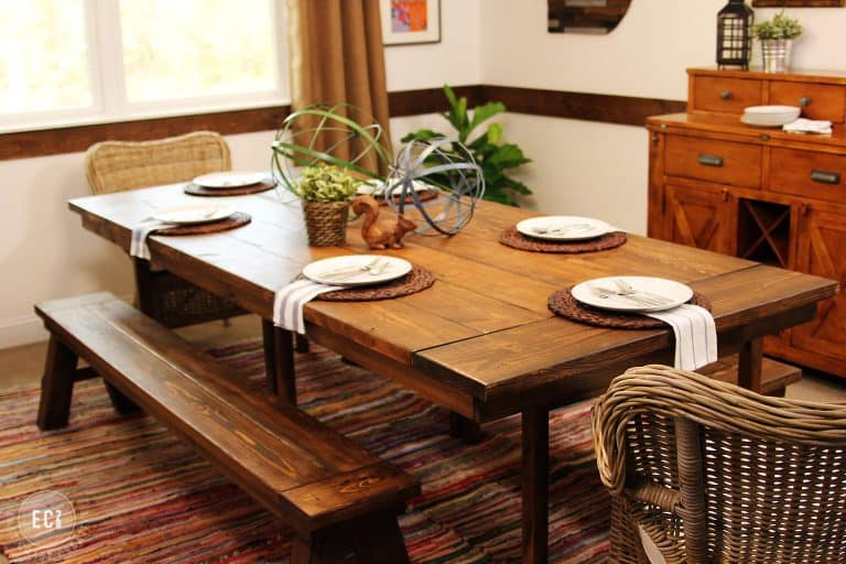 a stunning oak table made using one of the most beautiful ikea hacks