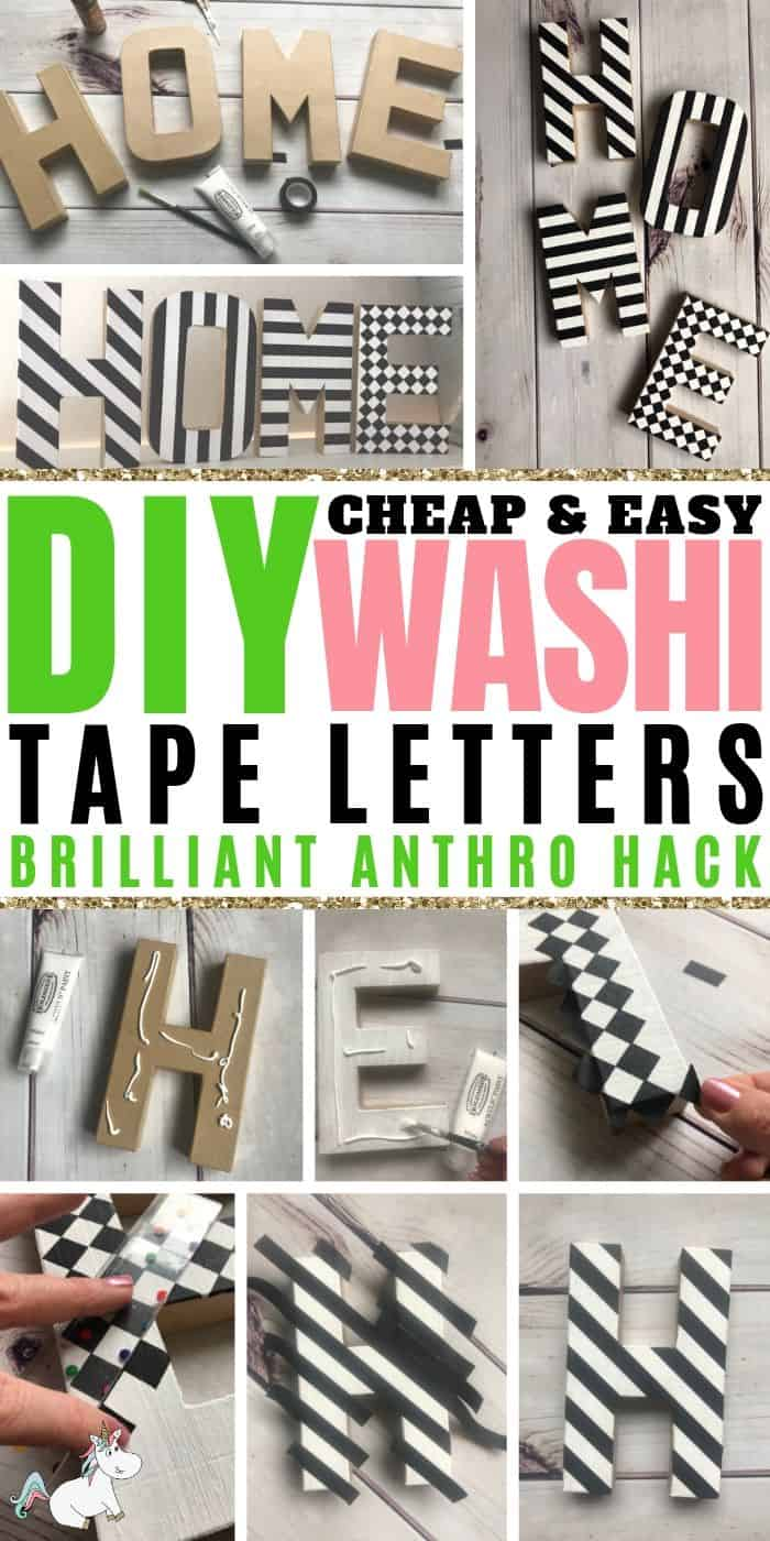 DIY Cheap & Easy Washi Tape Letters... An easy craft idea for adults who ,ove creative home decor! #diy #crafts #monogram #creativehomedecor