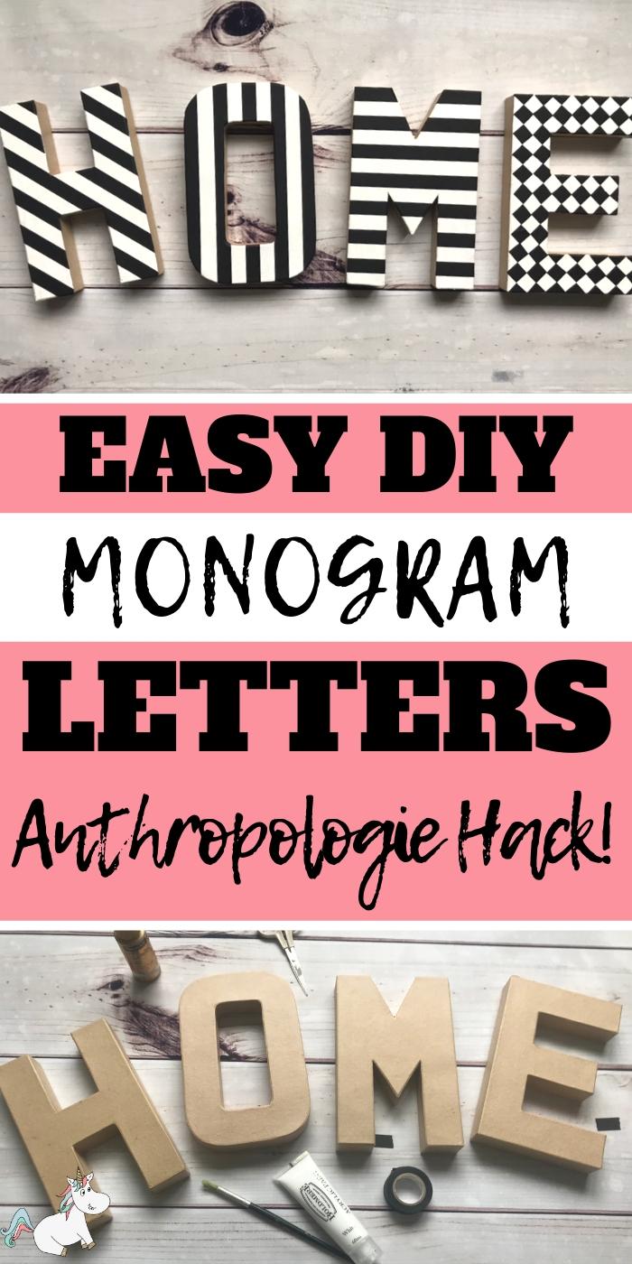 Easy DIY Monogram Letters! Creative home decor on a budget #anthropolgie #diyhack #easydiyproject #homedecor