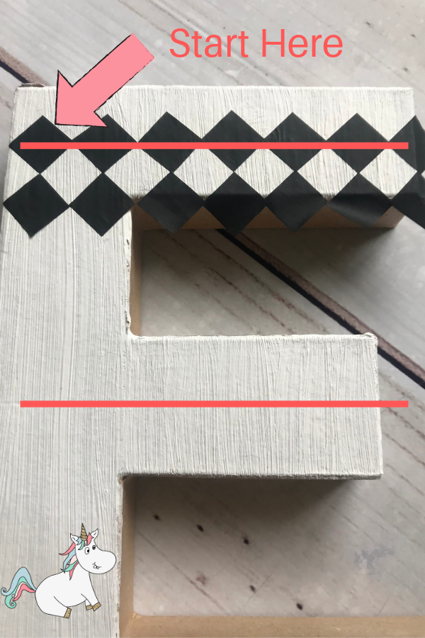 Measure & mark out the centre line of your letter E so the chequered pattern lines up well