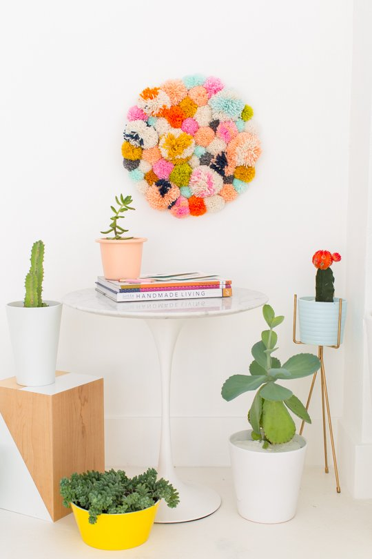 DIY Pom pom Wall Hanging one of the best easy crafts to make and sell