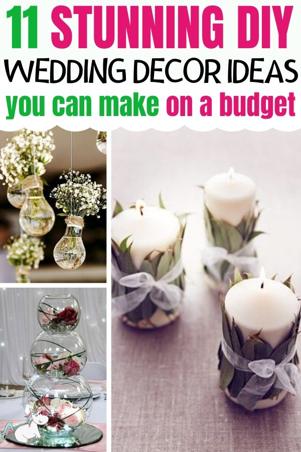 11 Stunning DIY Wedding Decorations You Can Make On A Small Budget! Are you looking for beautiful wedding decorations for your budget wedding? Then look no further than these cheap wedding decorations for your reception, centerpieces and more! don't miss them #weddingdecorations #diywedding #themummyfront