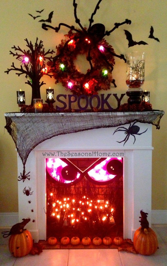 This fireplace is one the best DIY halloween decorations on the internet