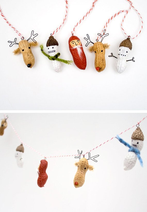 DIY Peanut Christmas Garland