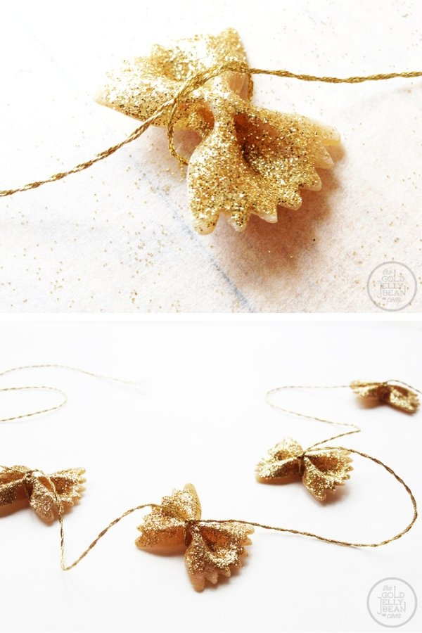 DIY Gold Glitter Pasta Garland