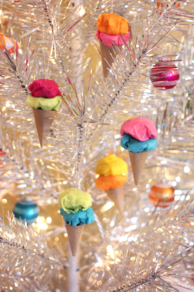 easy paper ice cream cone christmas ornaments
