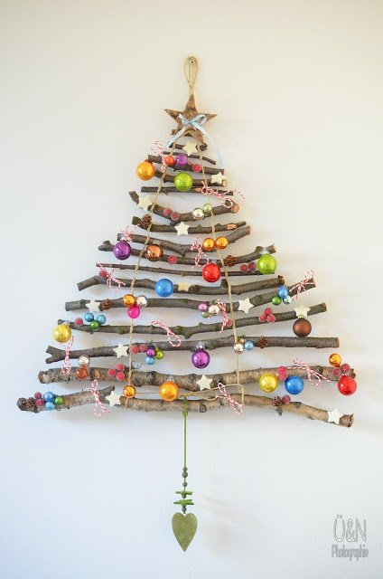diy twig tree with decorations