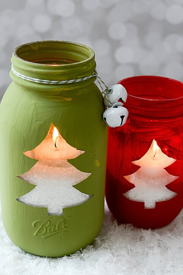 DIY Christmas Tree Votive Mason Jars