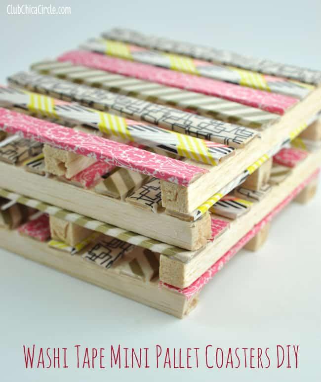 DIY Mini Pallet Coasters with Washi Tape