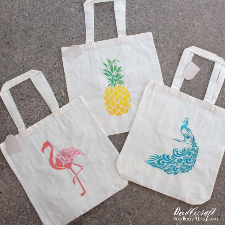 Tropical Tote Bags Summer Camp Craft with Stencil Revolution