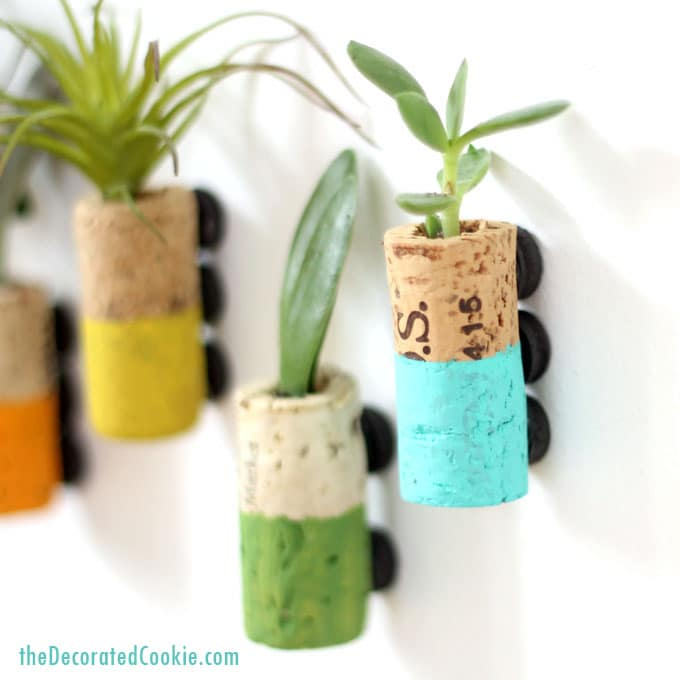 wine cork succulent planter magnets home decor craft