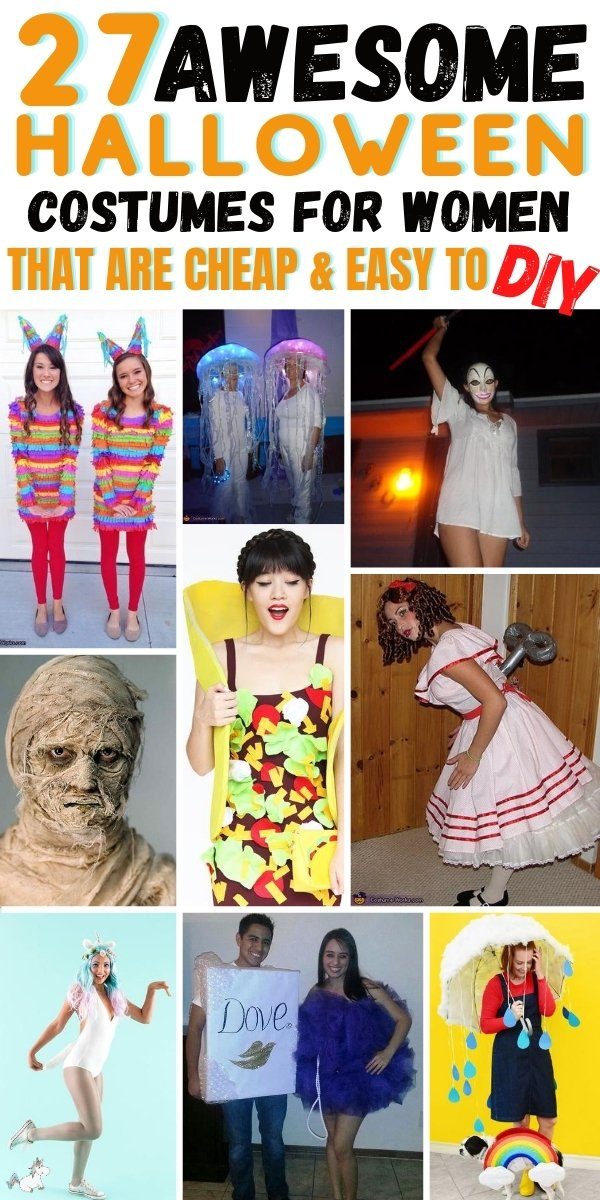 27 DIY Halloween costumes for Women That are Cheap and Easy To Do! Looking for an easy Halloween costume that will wow your friends but cost you minimum time & effort to make? Look no further than this list of Halloween costumes for women... you're sure to find all the inspiration you need! Includes helpful hints and tips too! #halloweencostumesforwomen #halloweencostumes #diyhalloweencostumes