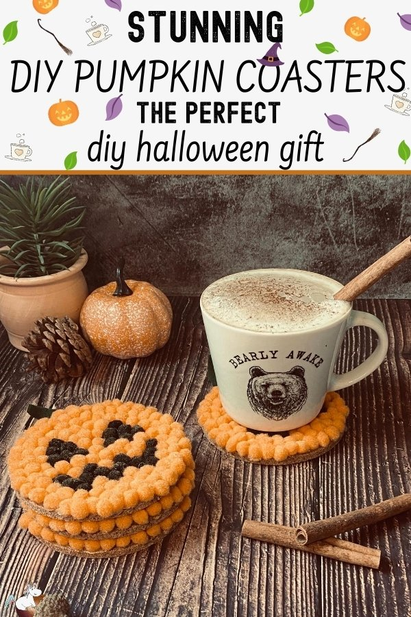 Easy DIY Halloween Gift: Adorable Pumpkin Coasters you can make as a stunning handmade Halloween gift everyone will love!