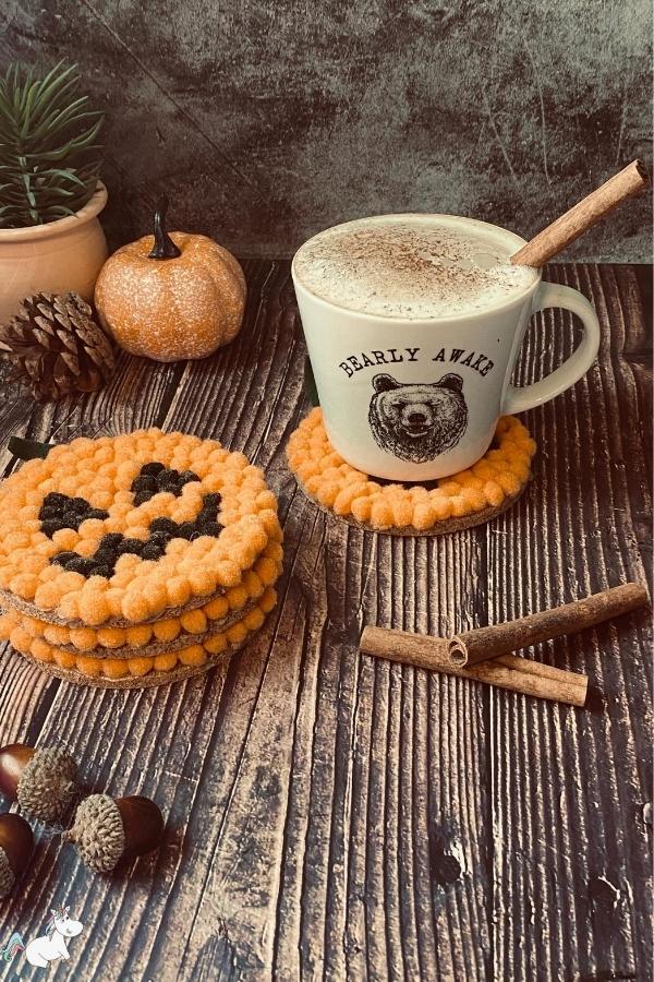 DIY Halloween Gift Idea: Adorable pompom pumpkin coasters