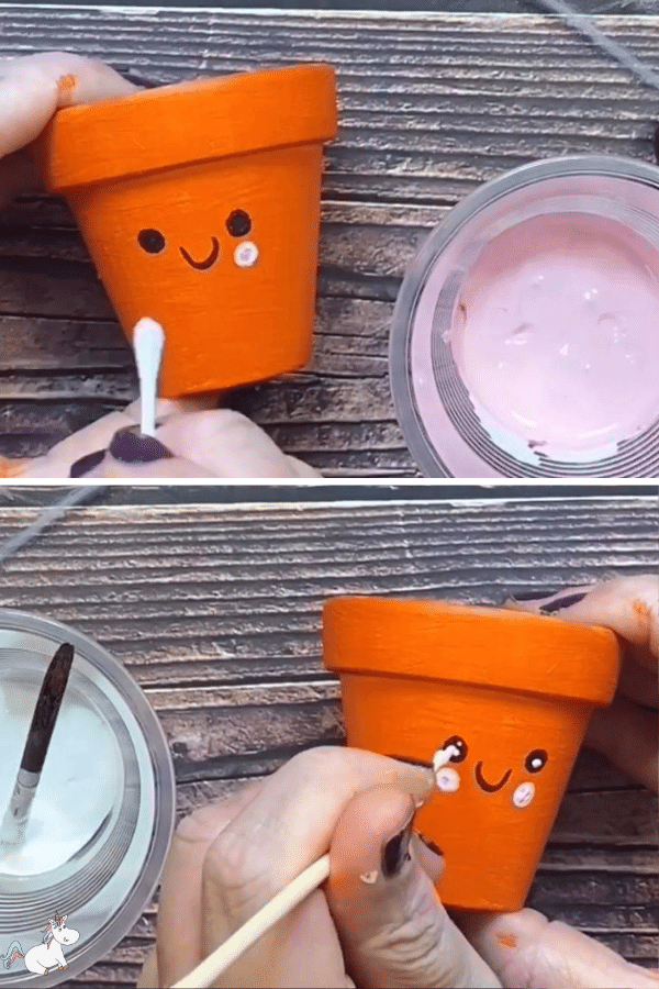 add some cute details using your pink and white paint