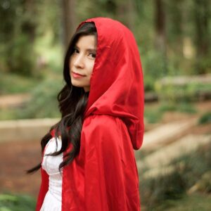 A simple red cape makes little Red Riding Hood the perfect Halloween costume for women!