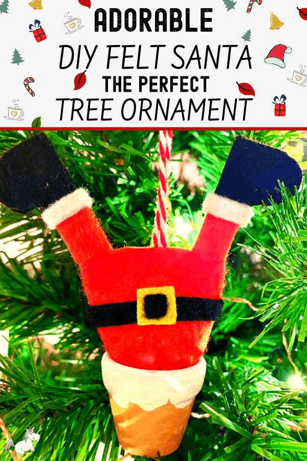 This Adorable Felt Santa Ornament is the perfect DIY Christmas Tree Ornament to make this year! #christmas #christmasornament