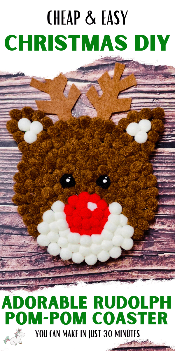 This DIY Rudolph Pom-Pom Coaster is an adorable, cheap and easy festive DIY project which you can do in just 30 minutes! Whether you're looking to make this Christmas coaster to add to your homemade festive decor collection, or as the perfect handmade Christmas gift then you'll love this fun, easy and super cute project! #christmasdiy #diychristmas #christmaspompomcrafts
